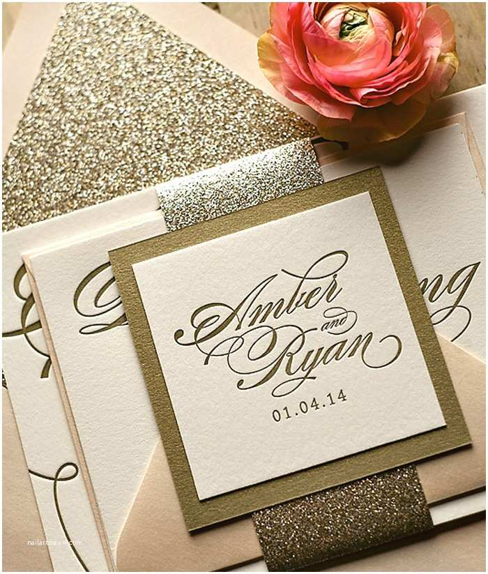 Gold Glitter Wedding Invitations Glam Stationery Giveaway