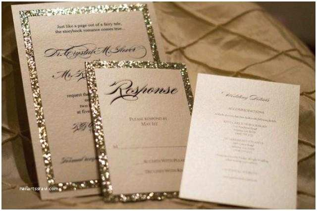 Gold Glitter Wedding Invitations Gold & Silver Glitter Wedding Invitation Ensemble