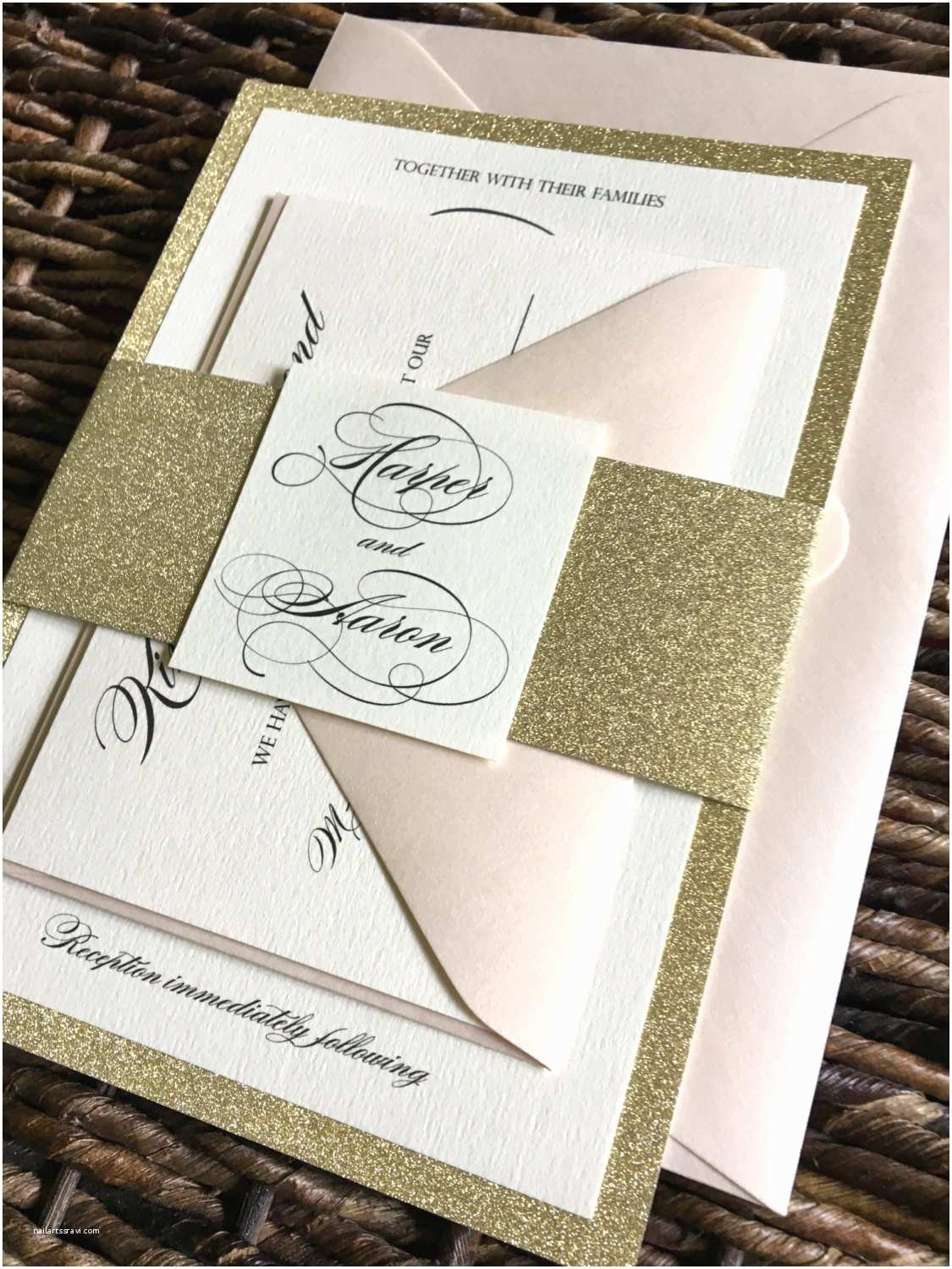 Gold Glitter Wedding Invitations Gold Glitter Wedding Invitation with Glitter Belly Band Gold