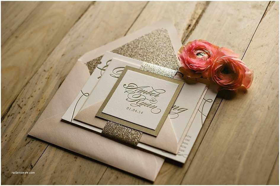 Gold Glitter Wedding Invitations Real Wedding Amber and Ryan