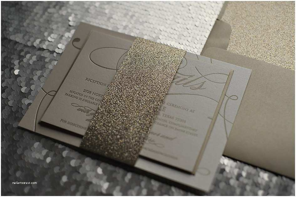 Gold Glitter Wedding Invitations Real Wedding April and Chris