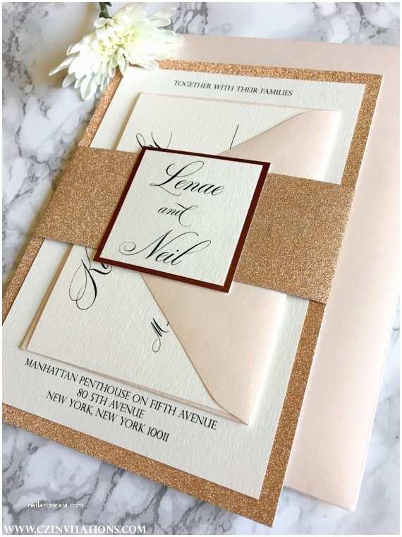 Gold Glitter Wedding Invitations Rose Gold Glitter Wedding Invitation with Glitter Belly Band