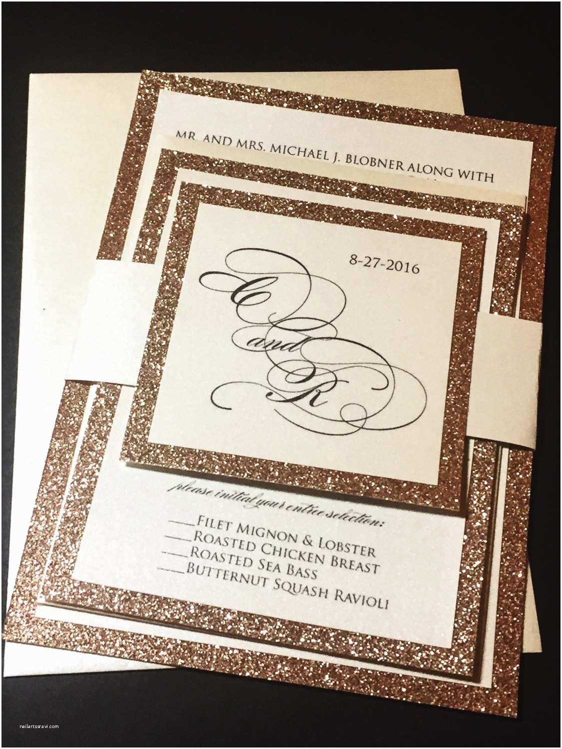 Gold Glitter Wedding Invitations Rose Gold Wedding Invitation Rose Gold Glitter Wedding
