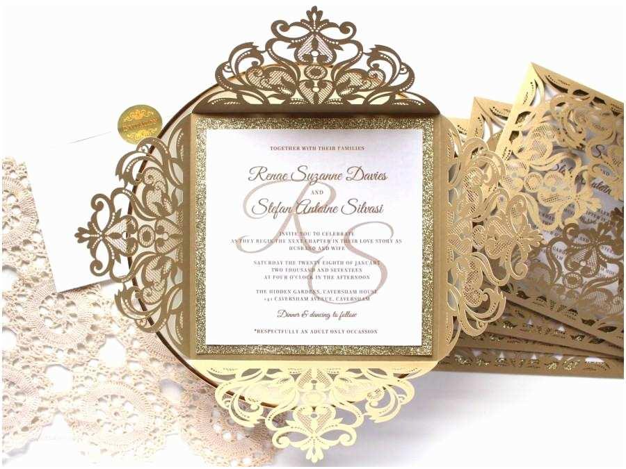 Laser Cut Wedding Invitations 25 X  Glitter Wedding Invitation White And