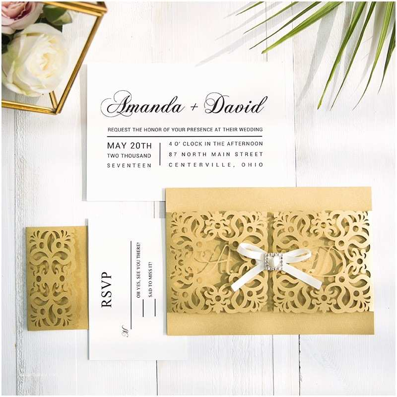 Gold Laser Cut Wedding Invitations Elegant Gold Laser Cut Wedding Invitations with Matching