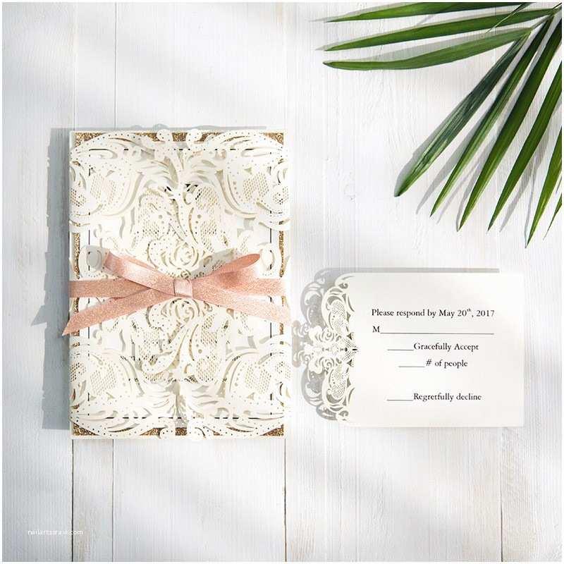 Laser Cut Wedding Invitations Elegant Laser Cut Wedding Invitation With Glitter