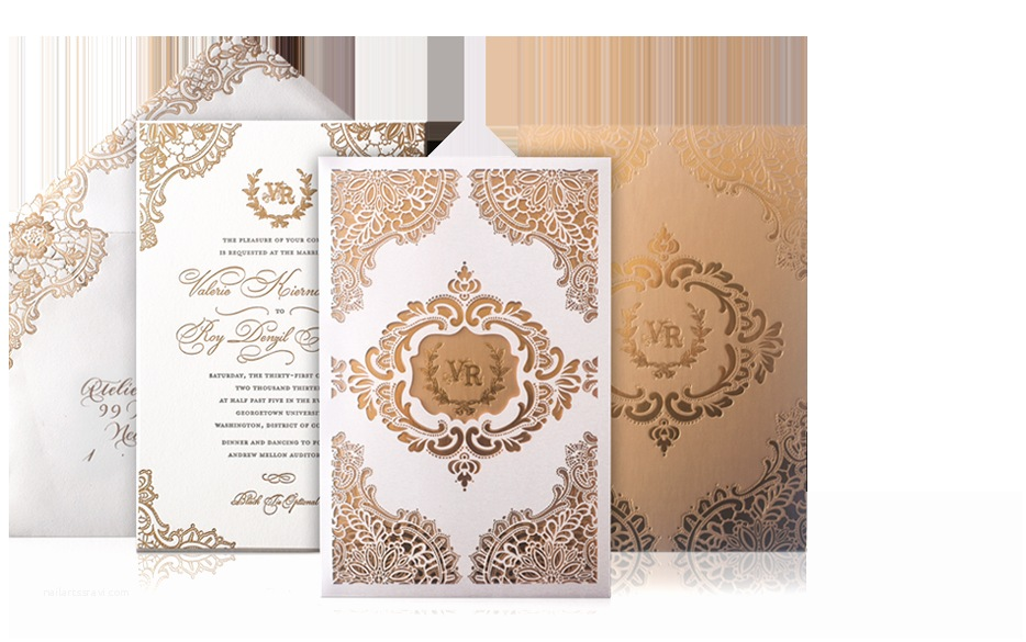Gold Laser Cut Wedding S Gold And Ivory Lace Laser Cut Luxury Wedding