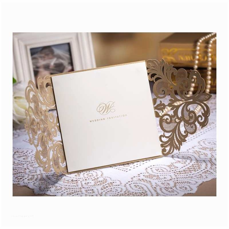 Gold Laser Cut Wedding Invitations Gold Fancy Laser Cut Wedding Invitation