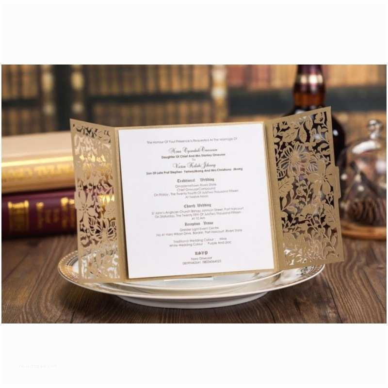 Gold Laser Cut Wedding Invitations Gold Lace Laser Cut Wedding Invitation Card