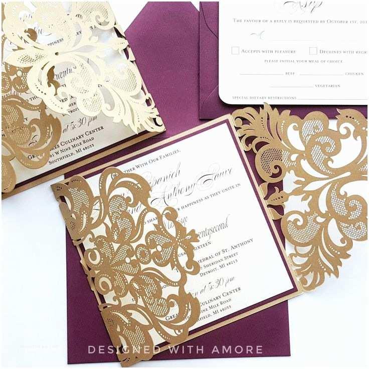 Laser Cut Wedding Invitations  Lace Wedding Invitations Lasercut Burgundy