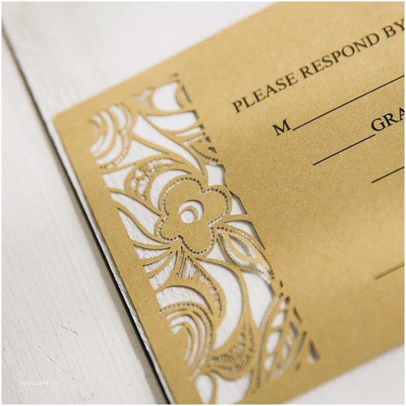 Gold Laser Cut Wedding Invitations Gold Laser Cut Pocket Wedding Invitations with Matching