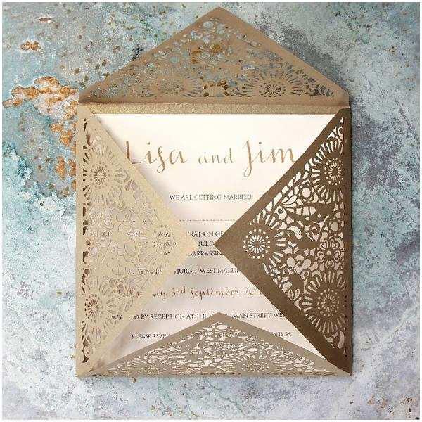 Gold Laser Cut Wedding S Gold Laser Cut Pocketfold Lace Flowers Wedding