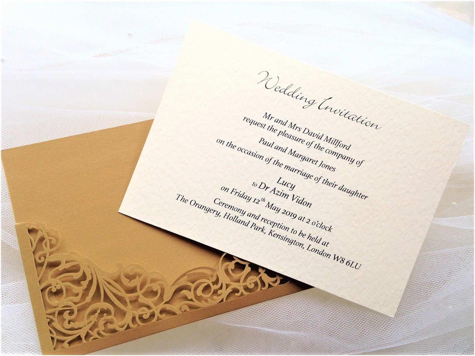 Gold Laser Cut Wedding Invitations Gold Pocket Laser Cut Wedding Invitations £2 Each