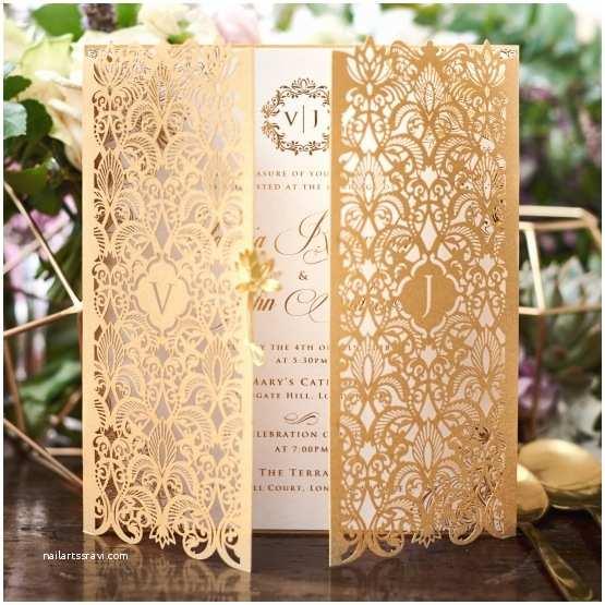 Gold Laser Cut Wedding Invitations Golden Invitation Imperial Design Gatefold Gold Pearl