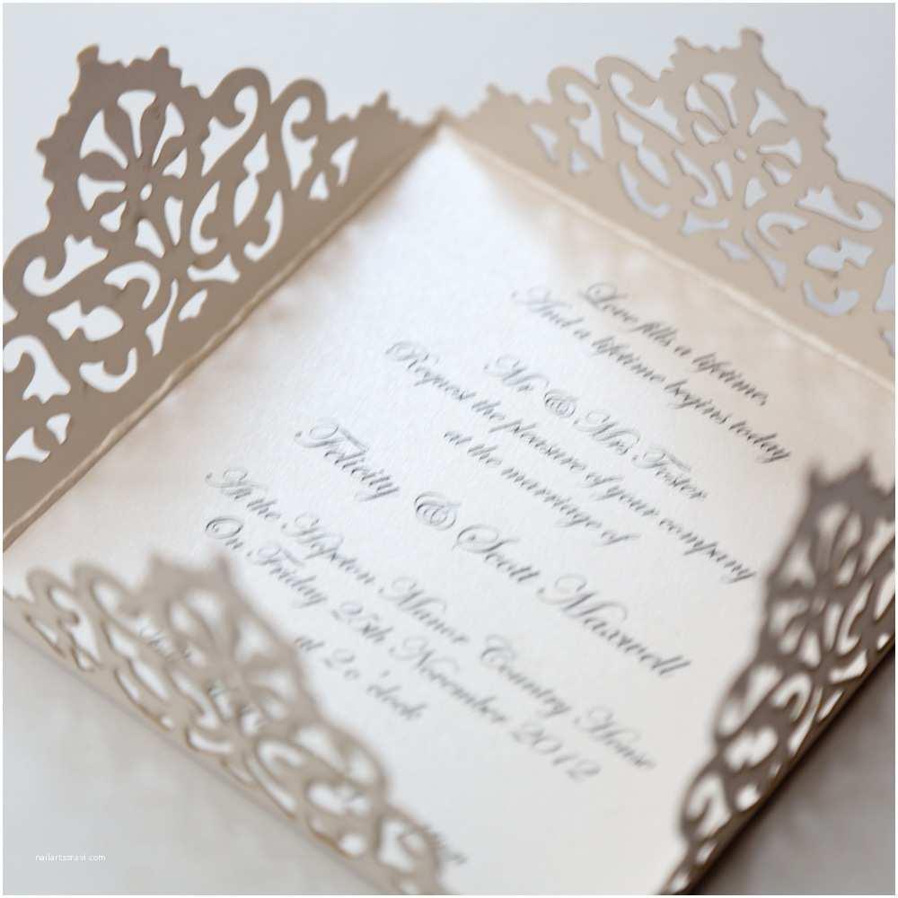 Gold Laser Cut Wedding Invitations Lace Edged Ivory Square Laser Cut Wedding Invitation Vi