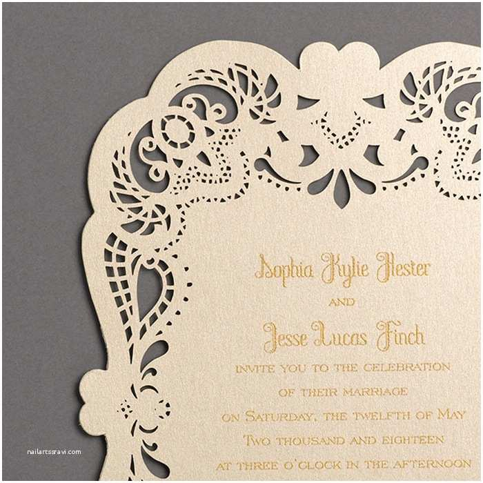 Gold Laser Cut Wedding Invitations Laser Cut Gold Wedding Invitations Little