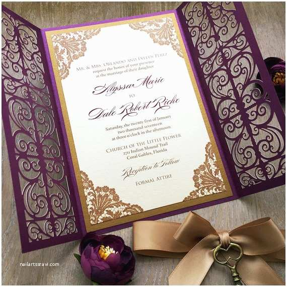 Gold Laser Cut Wedding Invitations Laser Cut Invitations Paper & Lace