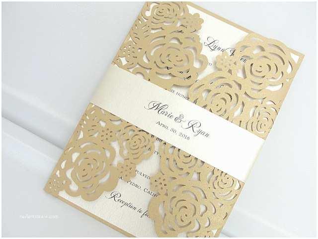 Gold Laser Cut Wedding Invitations Laser Cut Roses Wedding Invitation
