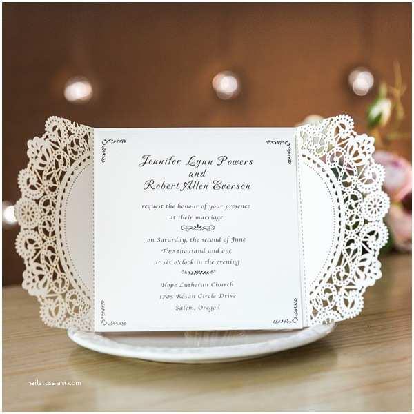 Gold Laser Cut Wedding Invitations Luxurious Rose Gold Lace Laser Cut Wedding Invitations