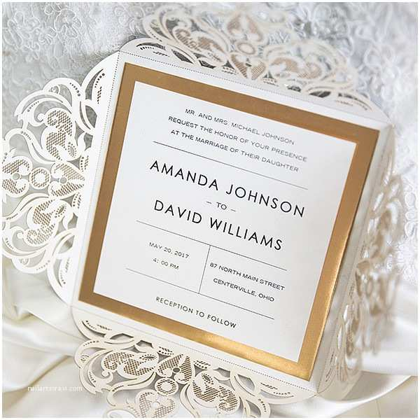 Gold Laser Cut Wedding Invitations Luxury Black Glittery Laser Cut Wedding Invitations