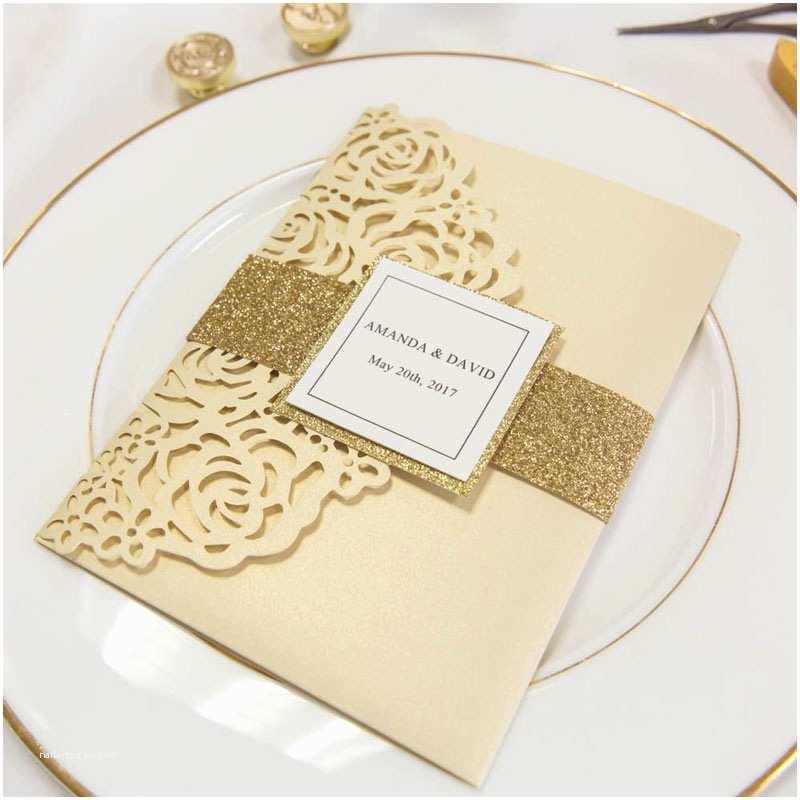 Gold Laser Cut Wedding Invitations Luxury Pale Gold Rose Laser Cut Pocket Wedding Invitations