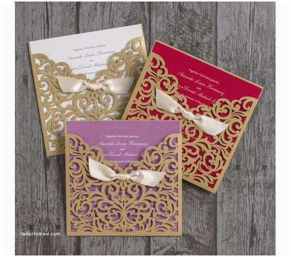 Gold Laser Cut Wedding Invitations Personalised Laser Cut Champagne Gold Wedding Day