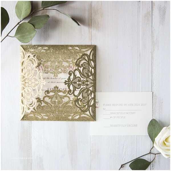 Gold Laser Cut  Invitations Rose Gold Foil Pressed Glitter Laser Cut