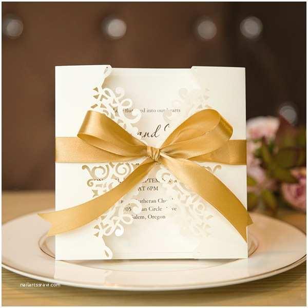 Gold Laser Cut Wedding Invitations Traditional Ivory Laser Cut Wedding Invitations with Gold