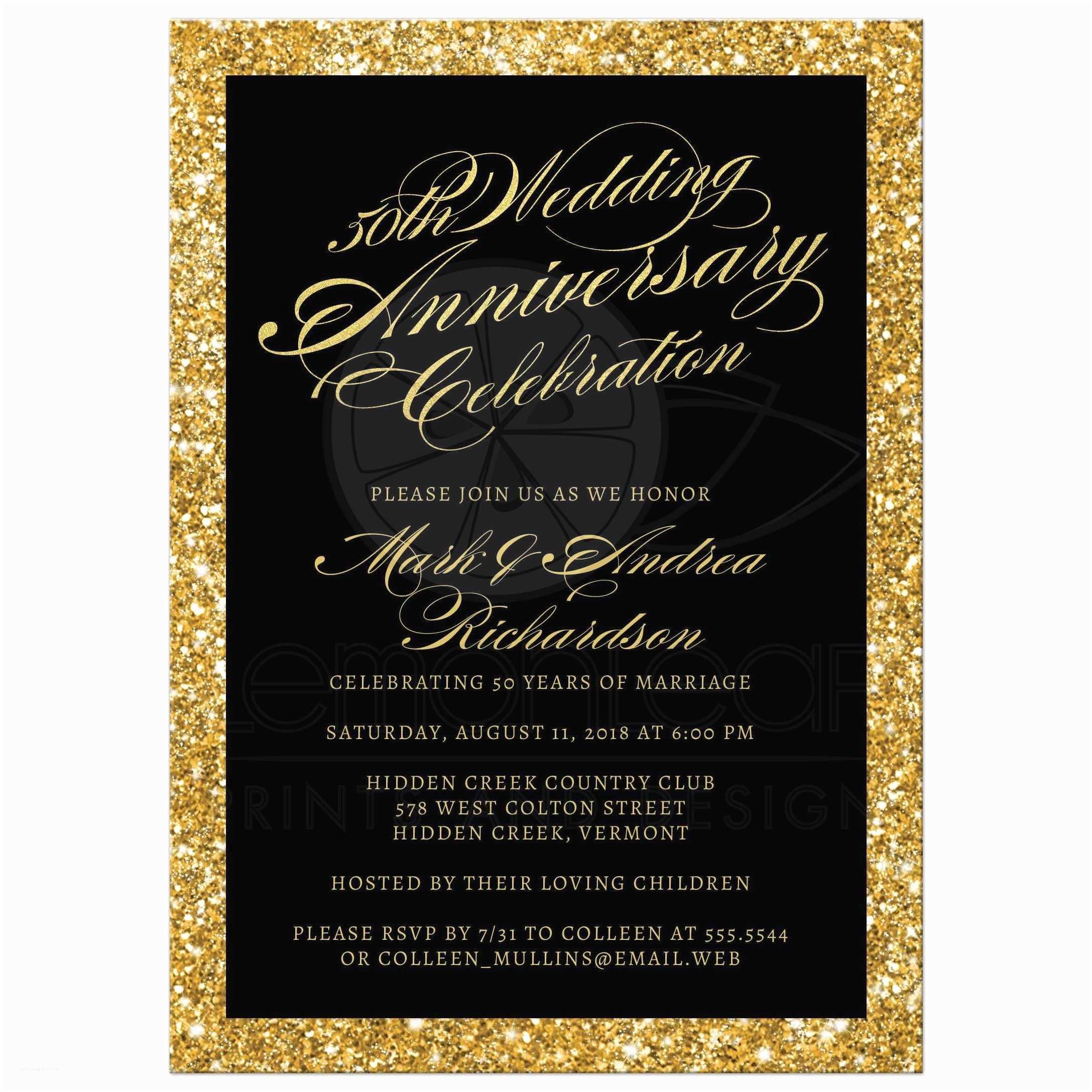 Gold Sparkle Wedding Invitations 50th Wedding Anniversary Party Invitations Gold Sparkle