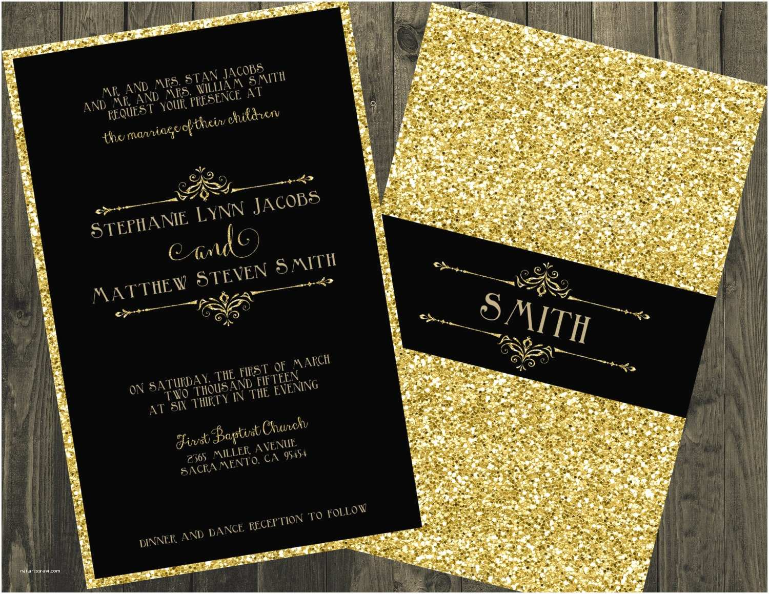 Gold Sparkle Wedding Invitations Black and Gold Wedding Invitation Glitter Wedding