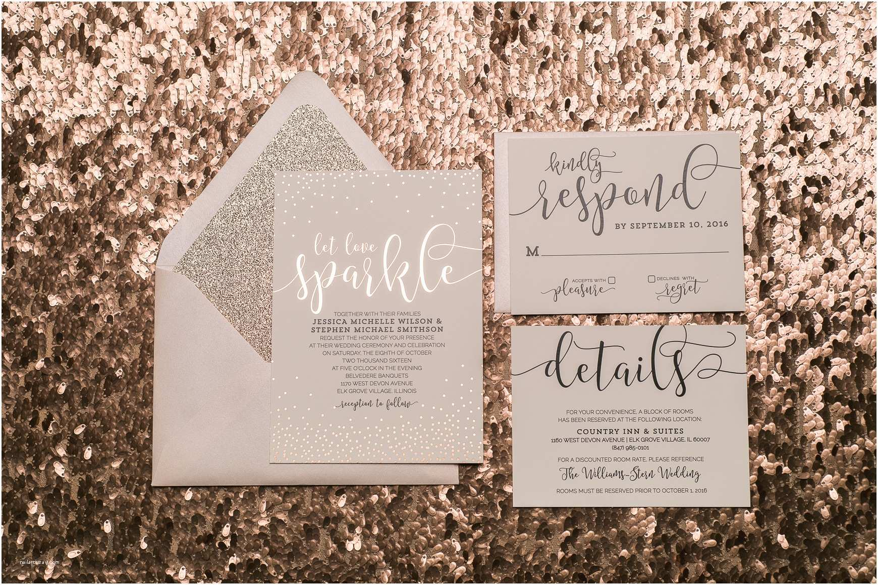 Gold Sparkle Wedding Invitations Blush and Rose Gold Glitter Wedding Invitations with Foil