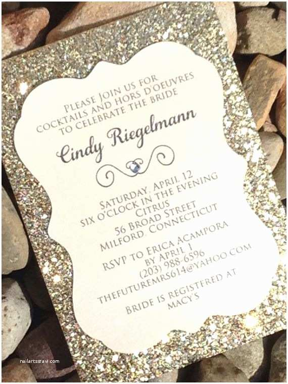 Gold Sparkle Wedding Invitations Bridal Shower Invitation 25 Glitter Bridal Shower