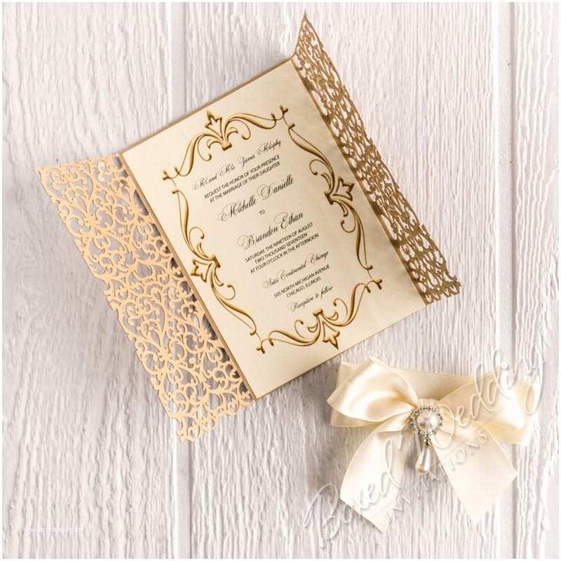 Gold Sparkle Wedding Invitations Gold Glitter Laser Cut Luxury Wedding Invitation
