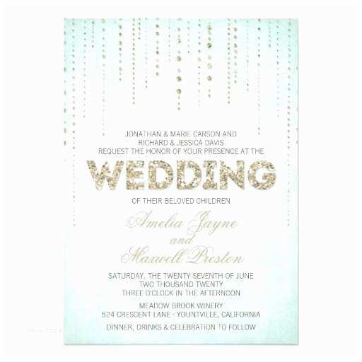 "Gold Sparkle Wedding Invitations Gold Glitter Look Wedding Invitation 5"" X 7"" Invitation"