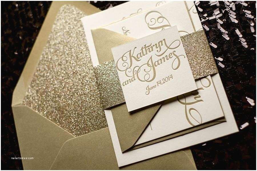 gold glitter wedding invitation calligraphy invitation sample set