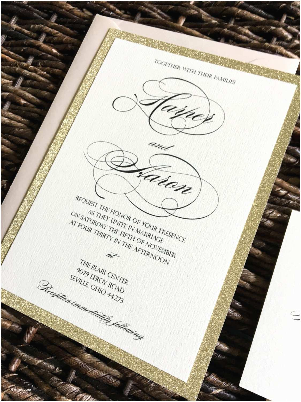 Gold Sparkle Wedding Invitations Gold Glitter Wedding Invitation with Glitter Belly Band Gold
