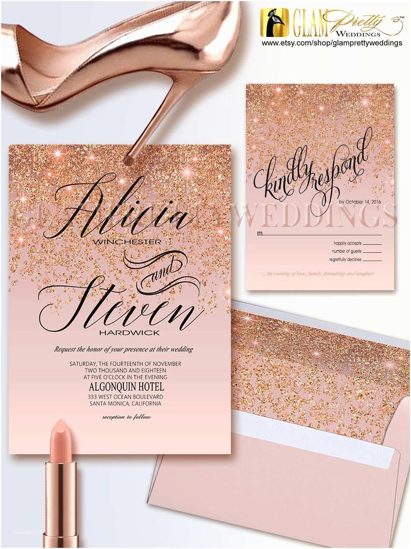 Gold Sparkle Wedding Invitations Rose Gold Glitter Wedding Invitation & Rsvp Card Glam Gold