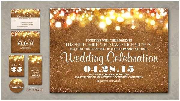 Gold Sparkle Wedding Invitations Rustic Wedding Wedding Invitations by Jinaiji