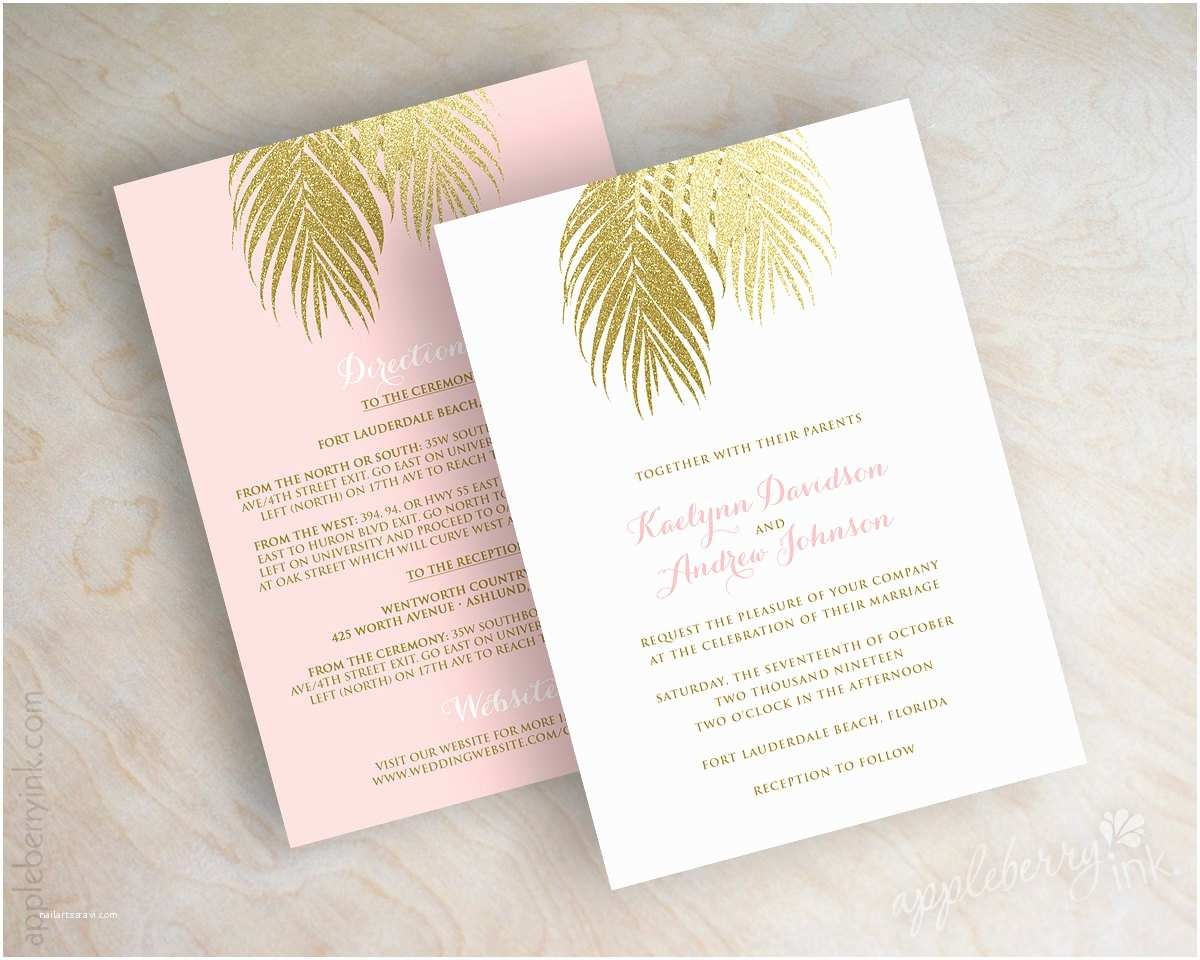 Gold Wedding Invitations Beach Wedding Invitation Pink and Gold Wedding Invitations