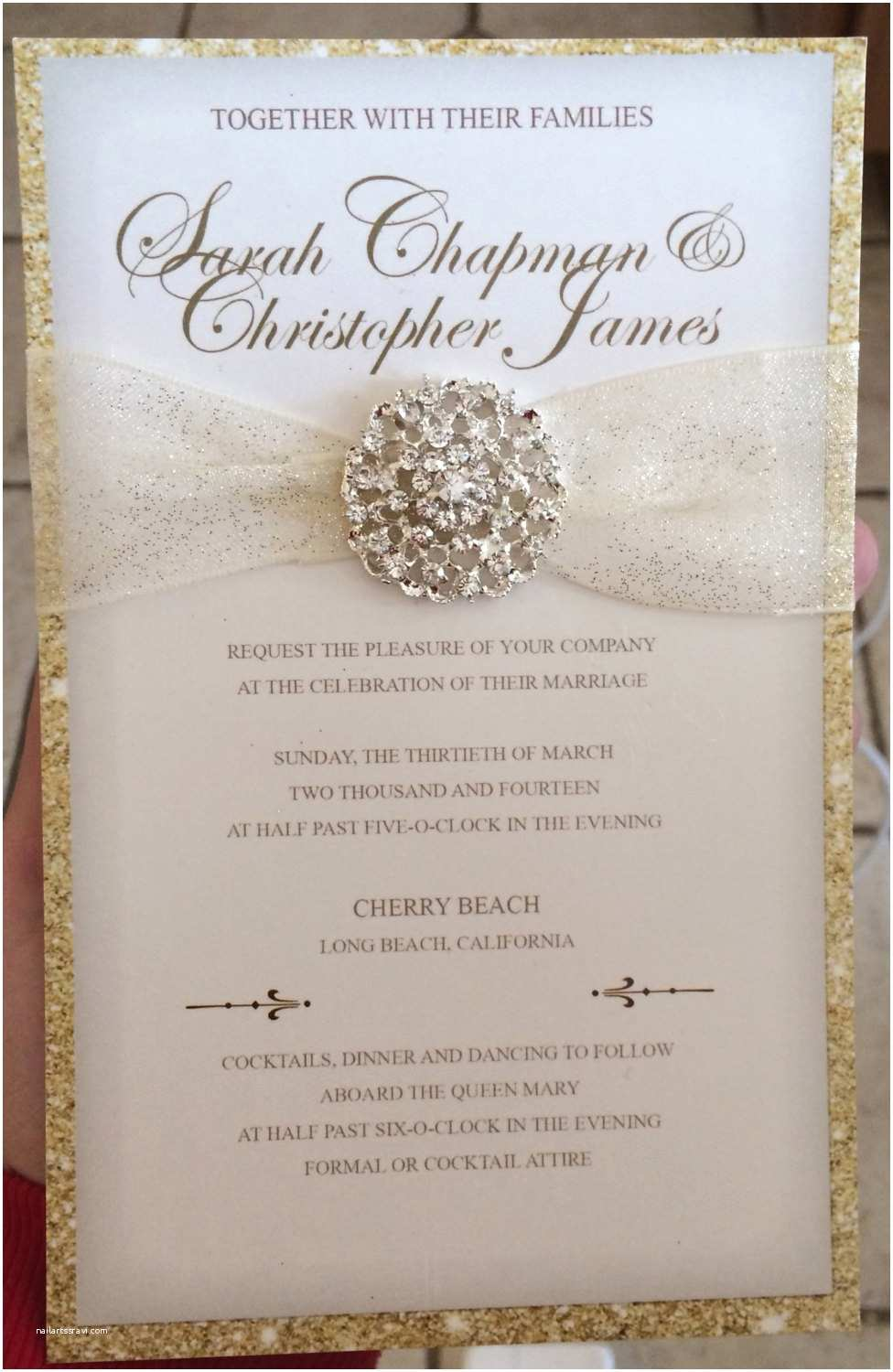 Gold Wedding Invitations Luxurious Gold Glitter Wedding Invitation by
