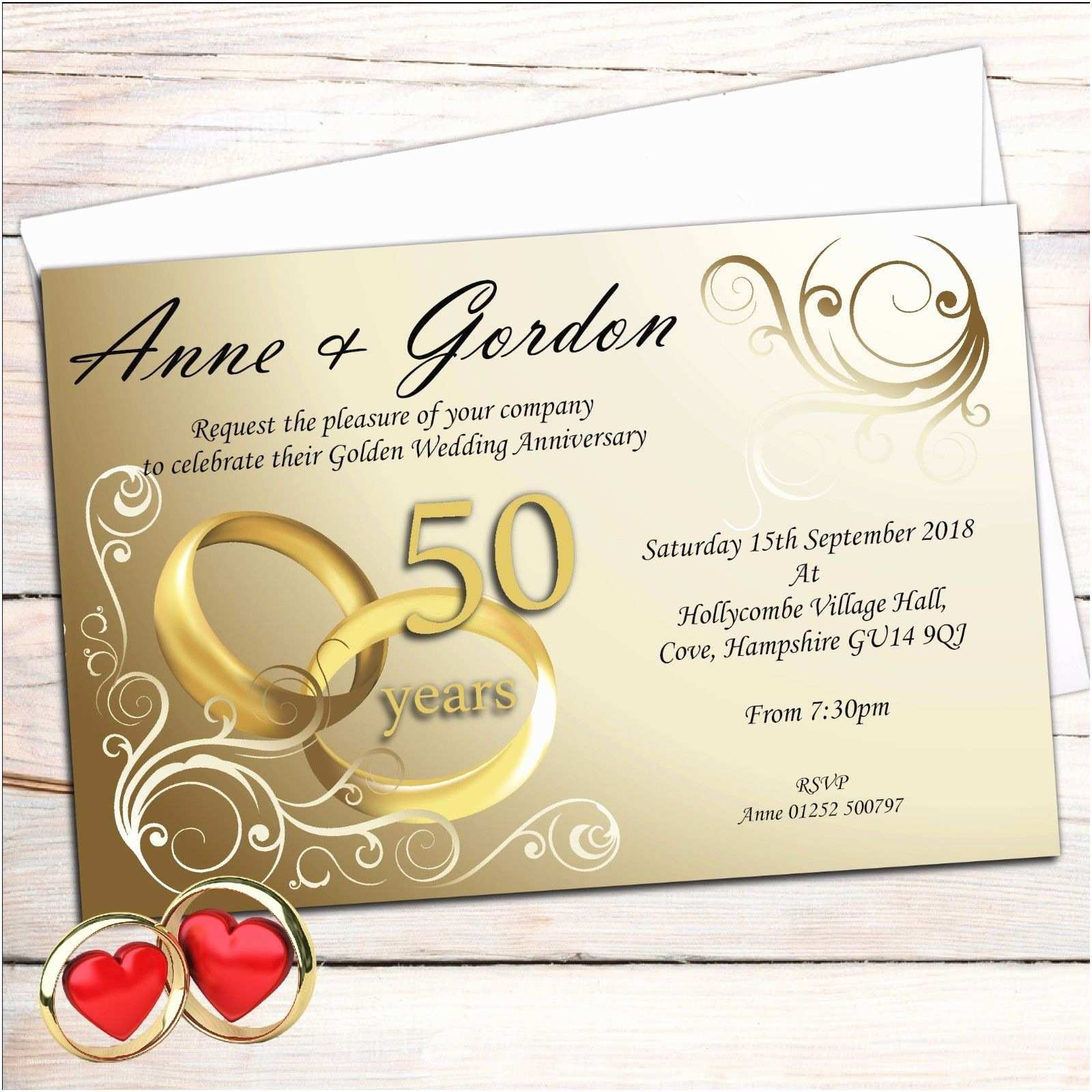 Golden Wedding Anniversary Invitations 10 Personalised Elegant Golden 50th Wedding Anniversary