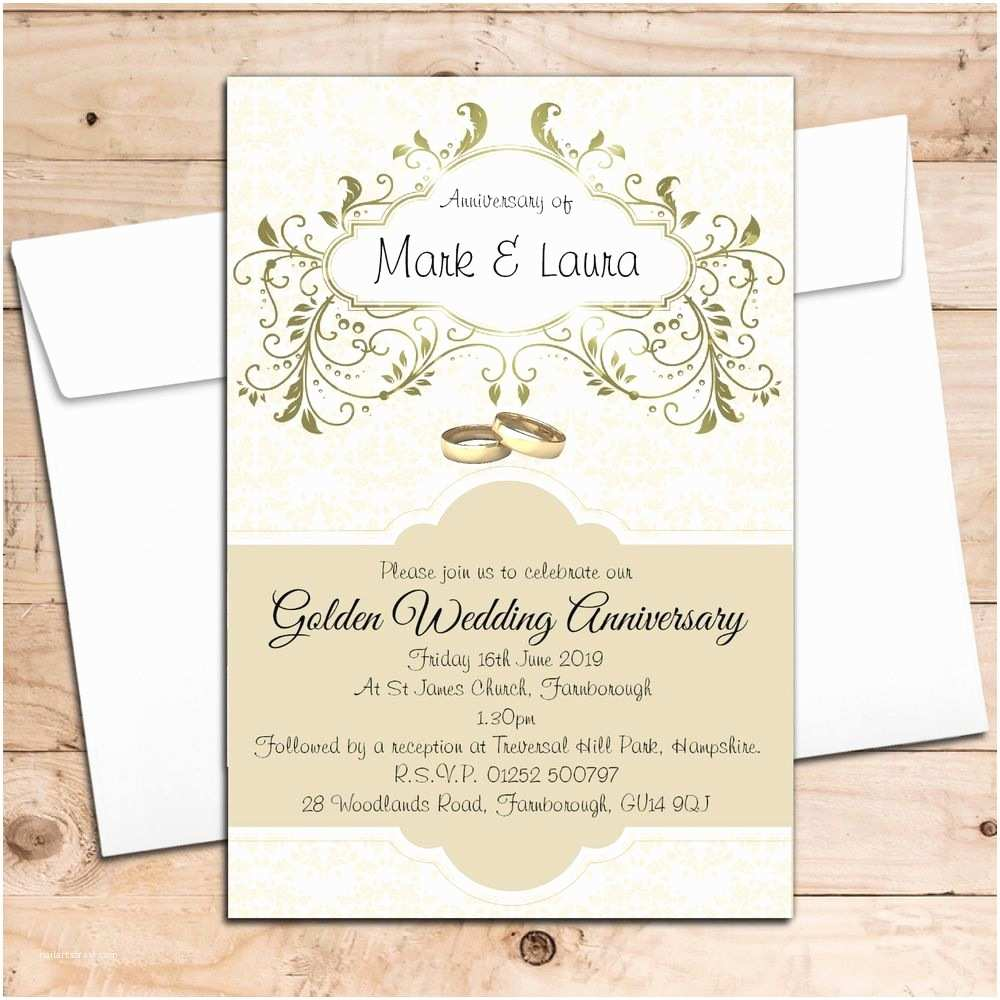 Golden Wedding Anniversary Invitations 10 Personalised Golden 50th Wedding Anniversary