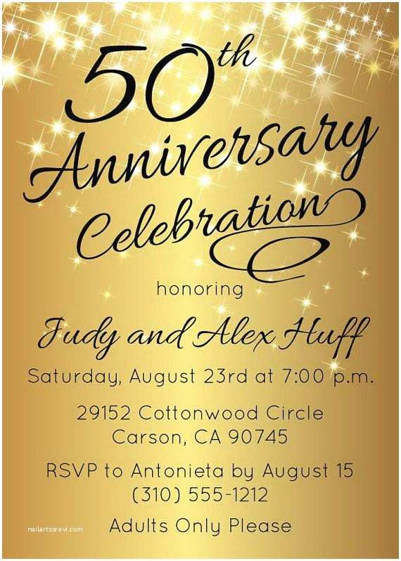 Golden Wedding Anniversary Invitations 50th Anniversary Invitation Gold Party Invite by