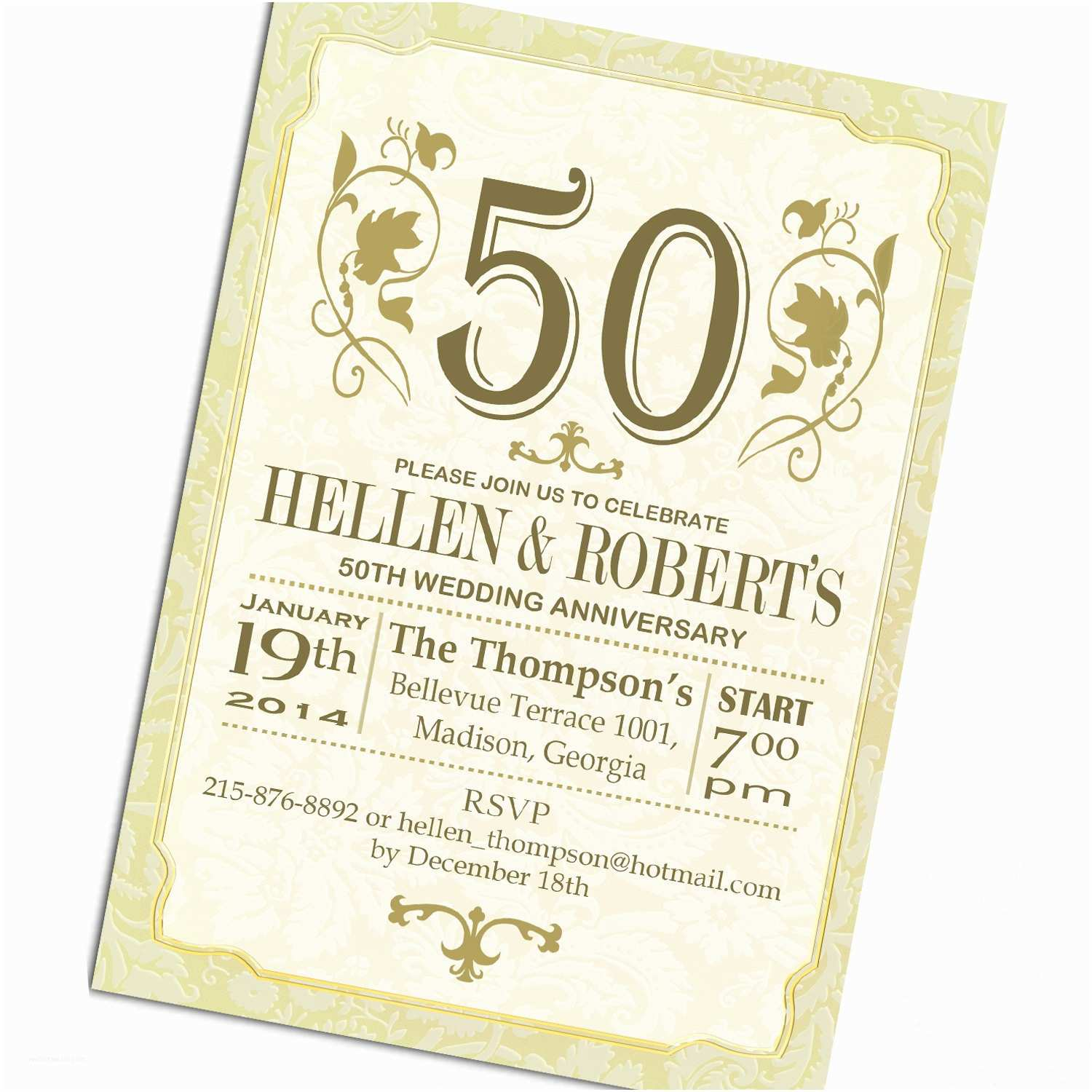Golden Wedding Anniversary Invitations 50th Gold White Wedding Anniversary Invitation Digital
