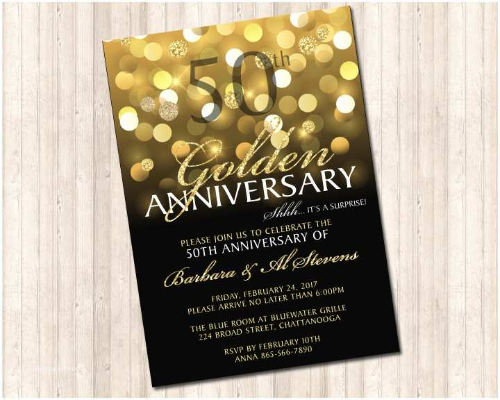 Golden Wedding Anniversary Invitations 50th Golden Wedding Anniversary Invitation Pure Design