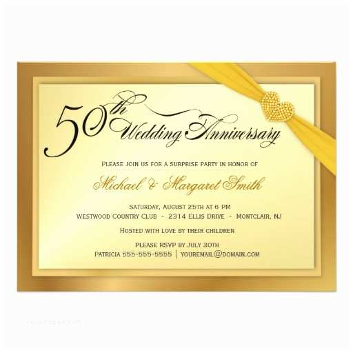 "Golden Wedding Anniversary Invitations 50th Golden Wedding Anniversary Invitations 4 5"" X 6 25"