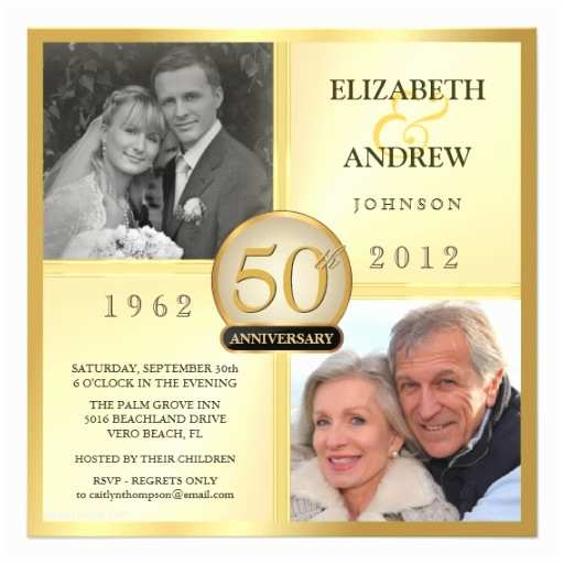 Golden Wedding Anniversary Invitations 50th Golden Wedding Anniversary Invitations 5 25