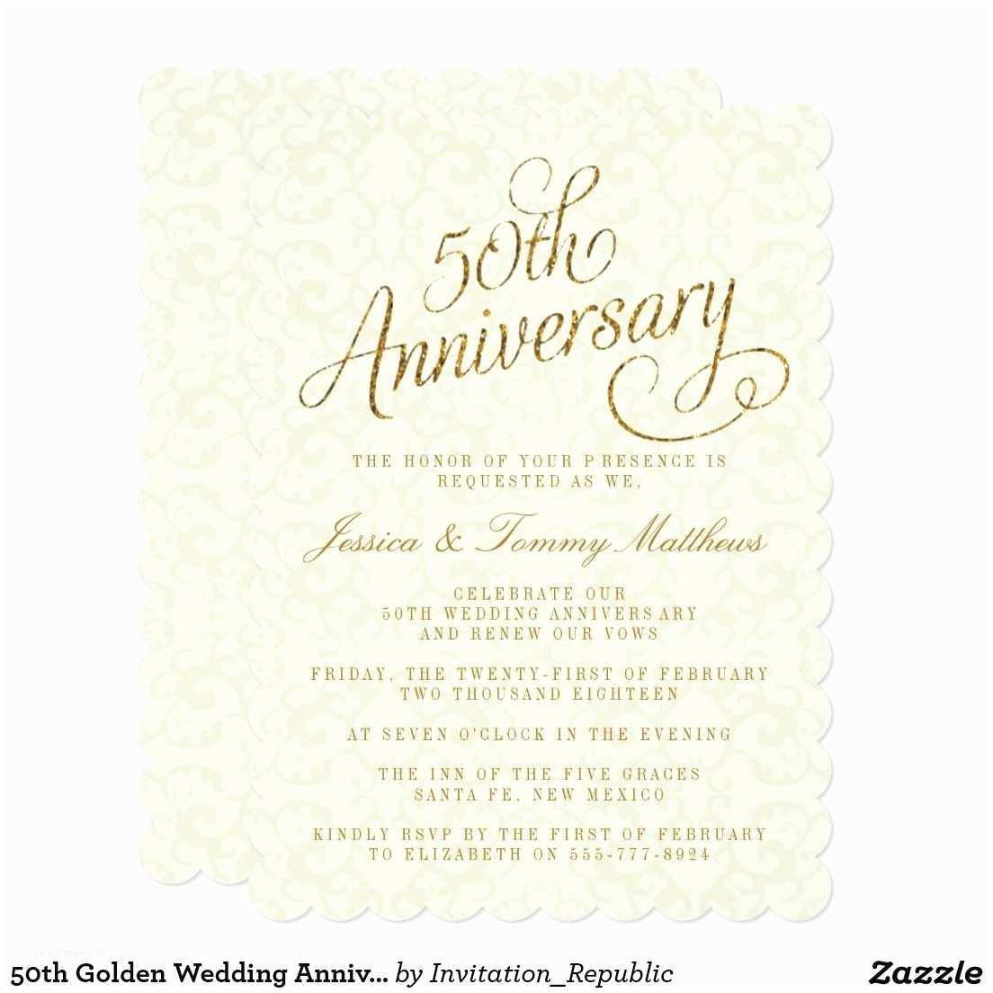 Golden Wedding Anniversary Invitations 50th Golden Wedding Anniversary Invitations