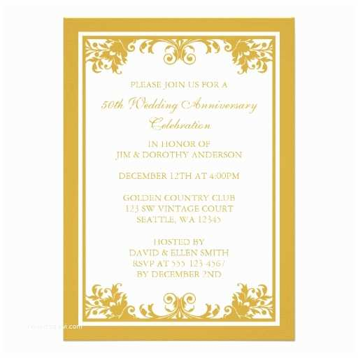Golden Wedding Anniversary Invitations 50th Wedding Anniversary Gifts Zazzle