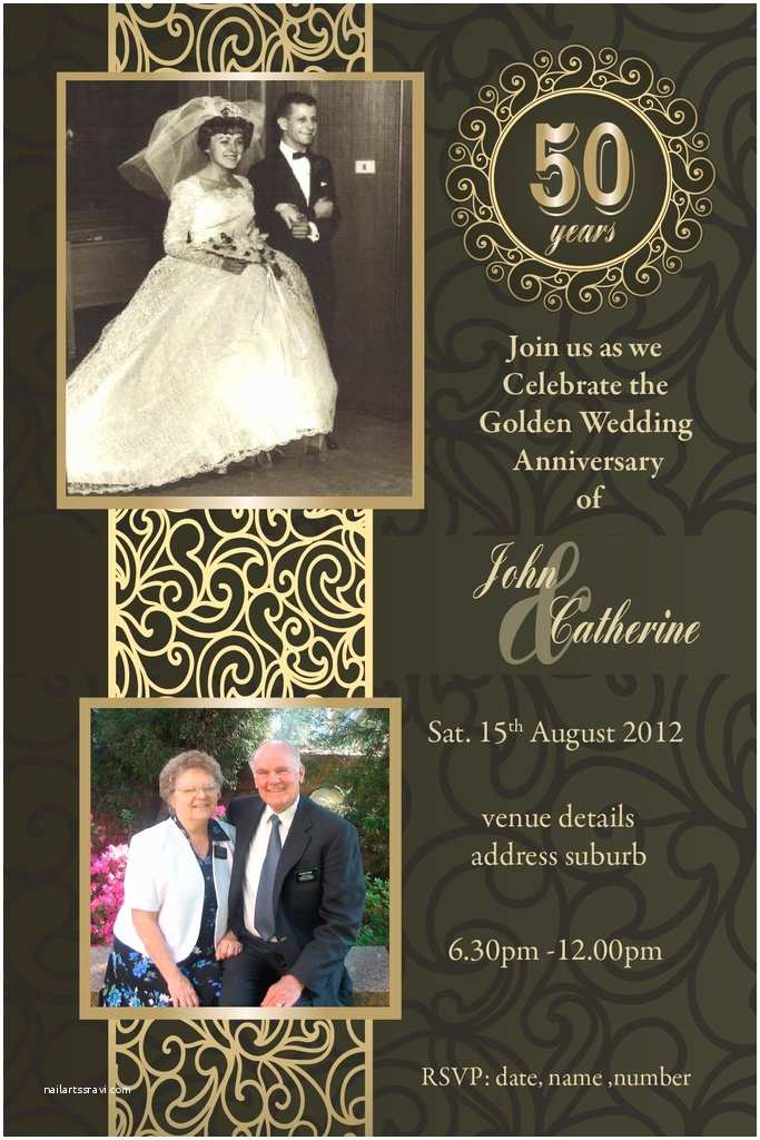 Golden Wedding Anniversary Invitations 50th Wedding Anniversary Invitations Golden Marriage